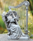 10 inch Angel With Harp Chimes