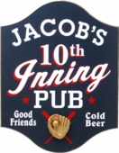 10th Inning Personalized Wood Pub Sign