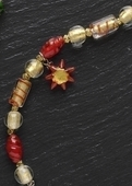 "Courage Beaded Red Bracelet 7.5"" with Sun - Moments In Life"