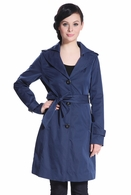 BGSD Women's 'Kate' Double Lapel Collar Hooded Trench in Navy