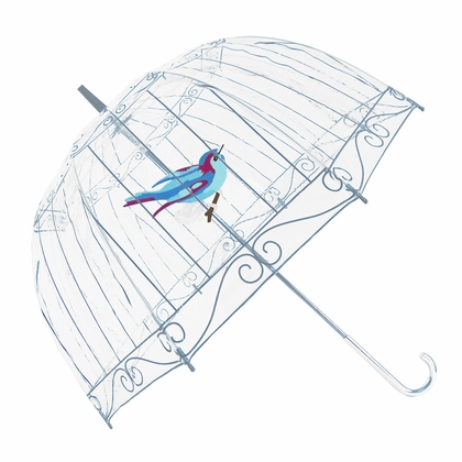 Fulton Lulu Guinness Clear Birdcage Umbrella - Click to enlarge