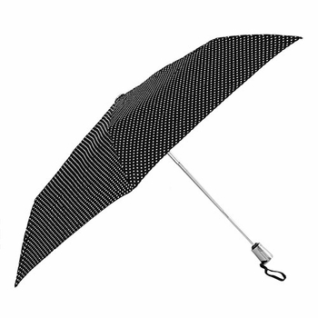 ShedRain Black/White Polka Dots AOC Super Slim Umbrella - Click to enlarge