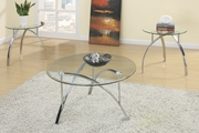 Silver Glass 3pc Coffee Table Set