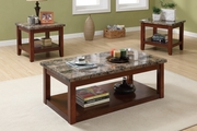 Brown Marble Coffee Table Set