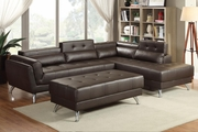 Abela Brown Leather Sectional Sofa