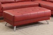 Abela Red Leather Ottoman