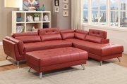 Abela Red Leather Sectional Sofa