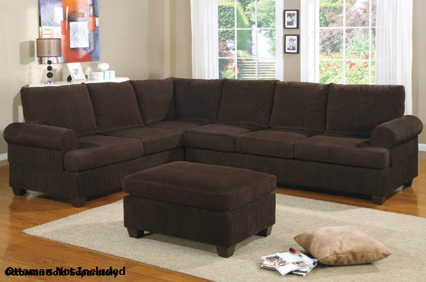 Poundex Abelone f7133 Brown Fabric Sectional Sofa - Steal ...