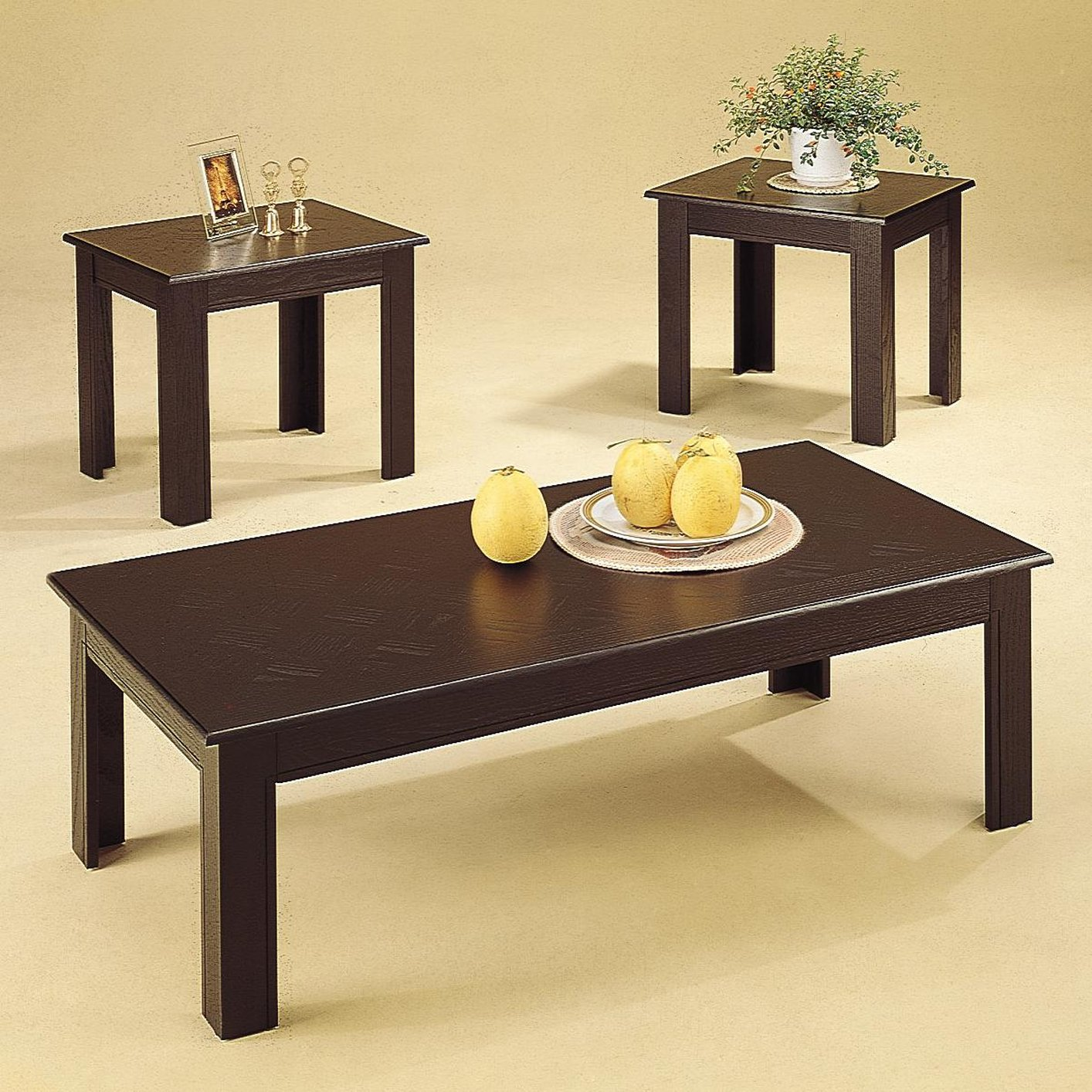 Black and wood coffee table - Acosta Black Wood Coffee Table Set