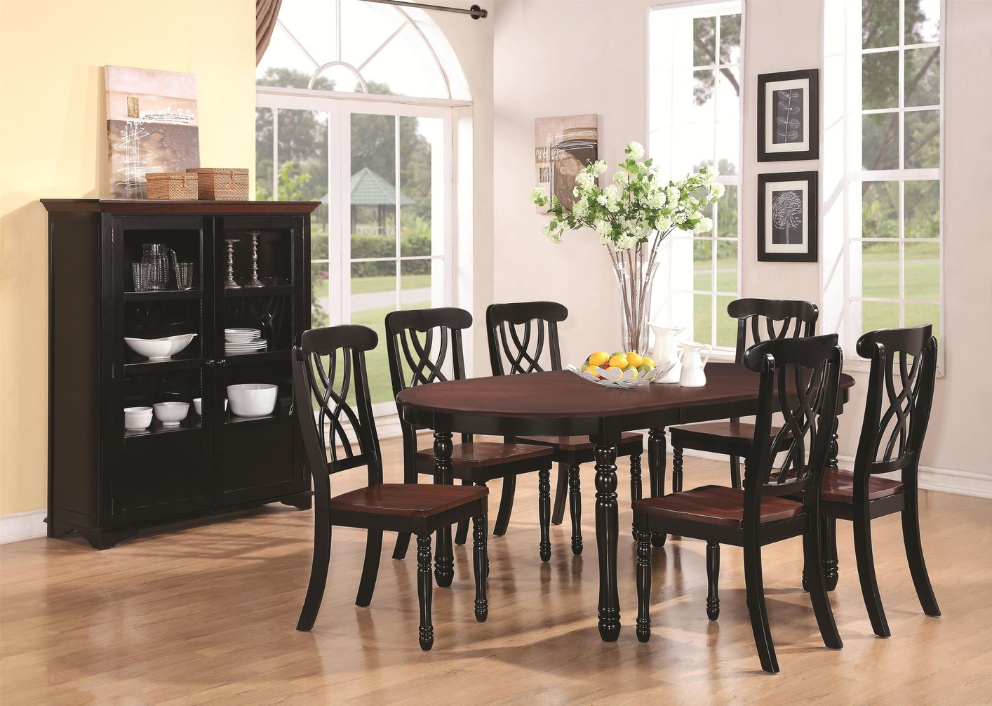 Cherry kitchen table and chairs - Coaster Addison 103701 Black Wood Dining Table In Los Angeles Ca