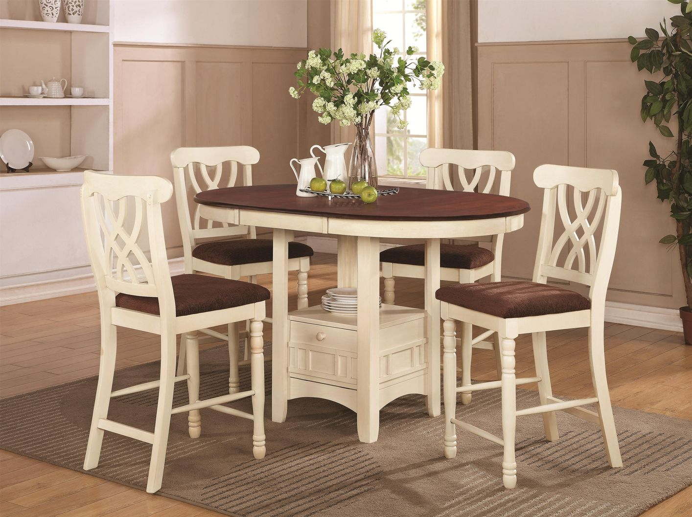 Coaster Addison 102238 102239 White Wood Pub Table Set In