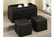 Adil Black Faux Leather Ottoman