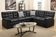 Ajax Black Leather Sectional Sofa
