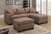 Akeneo Stone Fabric Sectional Sofa and Ottoman