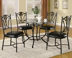 Altamonte Black Metal And Glass Dining Table Set