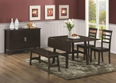 Alva Cappuccino Wood Dining Table Set