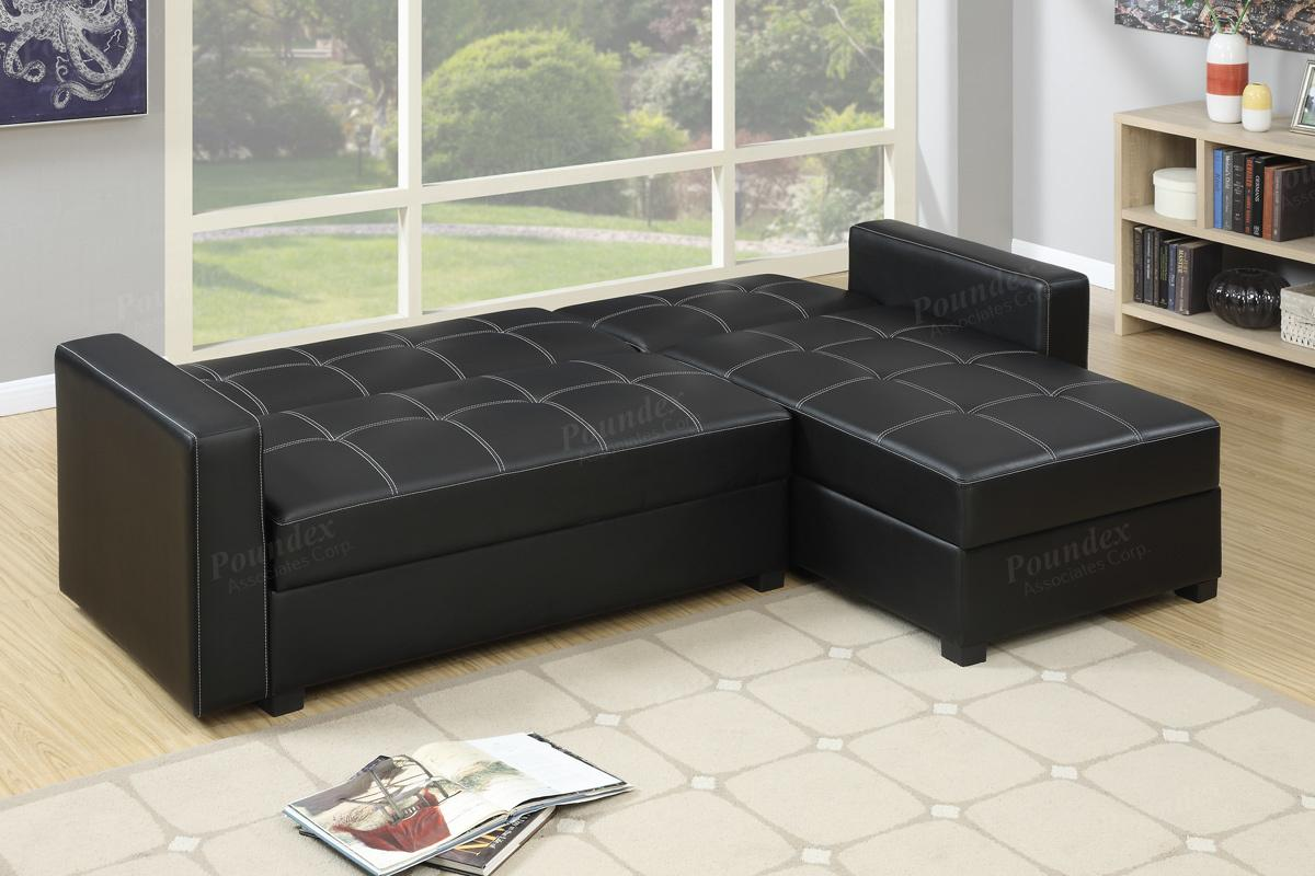 poundex amala f7894 black leather sectional sofa bed steal a sofa