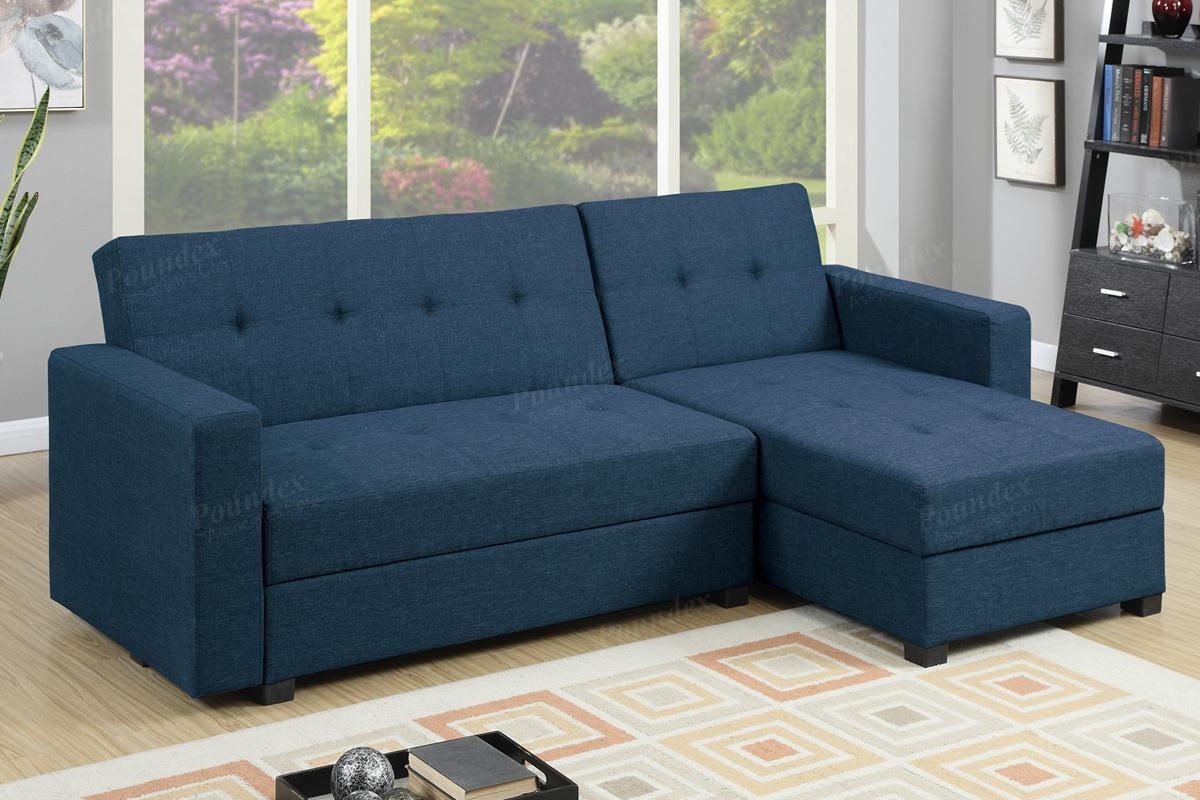 poundex amala  blue fabric sectional sofa bed steal  sofa furniture outlet los angeles ca