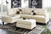 Ancel Beige Leather Sectional Sofa and Ottoman