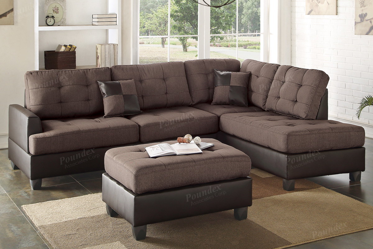 Poundex Ancel F6857 Brown Leather Sectional Sofa And