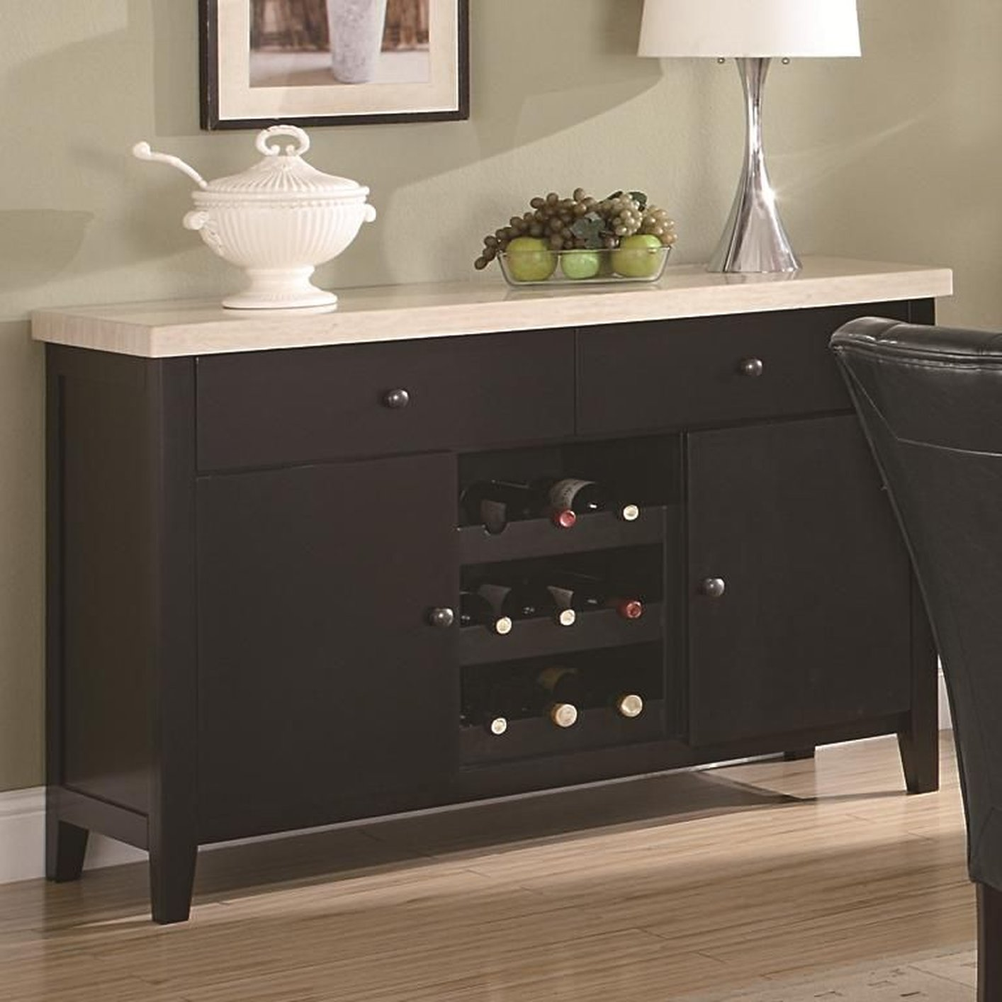 Dining room cabinet with wine rack