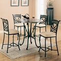 Ardith Brown Metal And Marble Pub Table