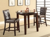 Astrid Rich Cherry Wood And Marble Pub Table Set