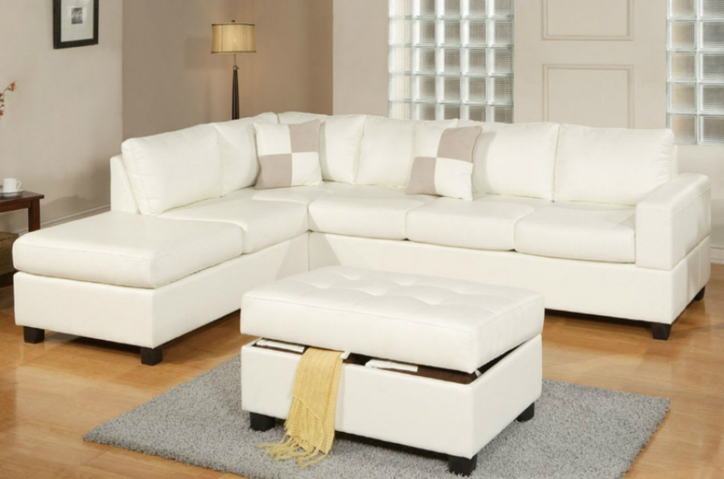 Poundex April F7354 White Leather Sectional Sofa And