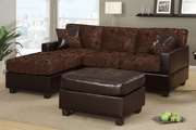Bahar Chocolate Microfiber Sectional Sofa With Ottoman