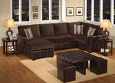 Bay Dark Brown Fabric Sectional Sofa