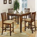 Brown Marble Dining Table and Chair Set
