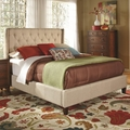 Beige Fabric California King Size Bed