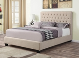 Beige Fabric Full Size Bed