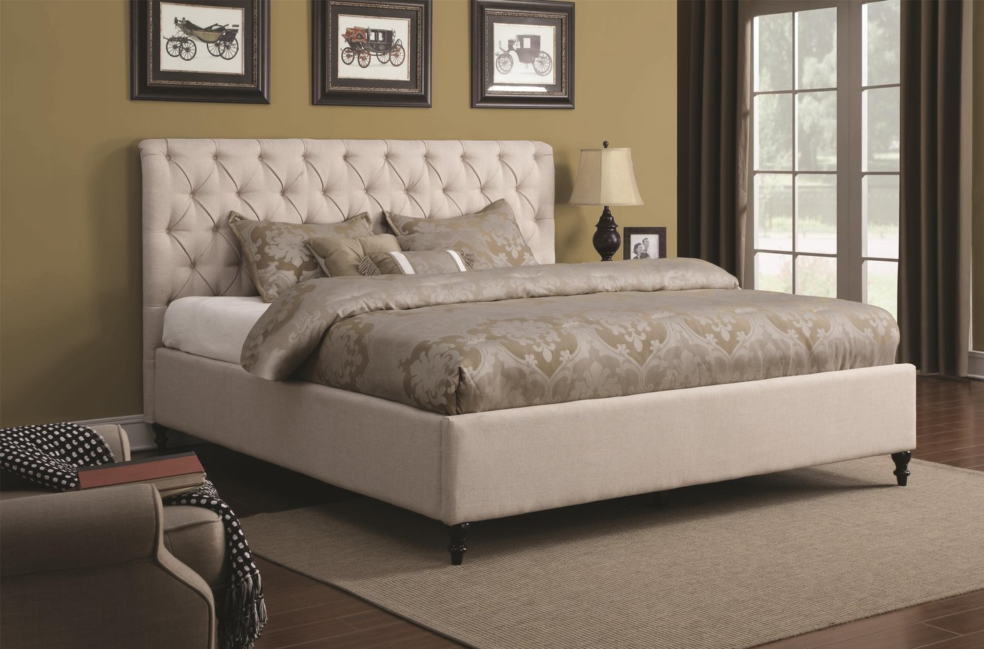 Coaster 300403q Beige Queen Size Fabric Bed Steal A Sofa