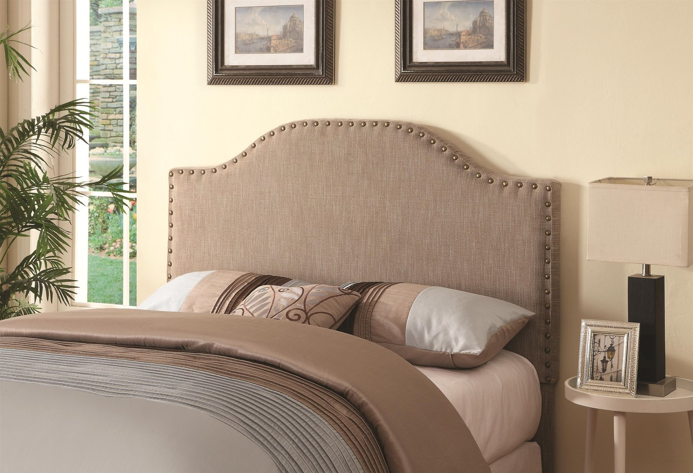 Coaster 300223 Beige Queen Size Fabric Headboard Steal A