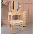 Beige Fabric Vanity Set with Stool