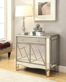 Beige Glass Accent Cabinet