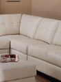 Beige Leather Armless Chair