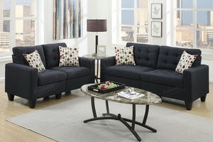 Acy Black Fabric Sofa and Loveseat Set