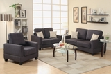 Rebel Black Fabric Sofa Loveseat and Chair Set