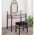 Black Fabric Vanity Set with Stool