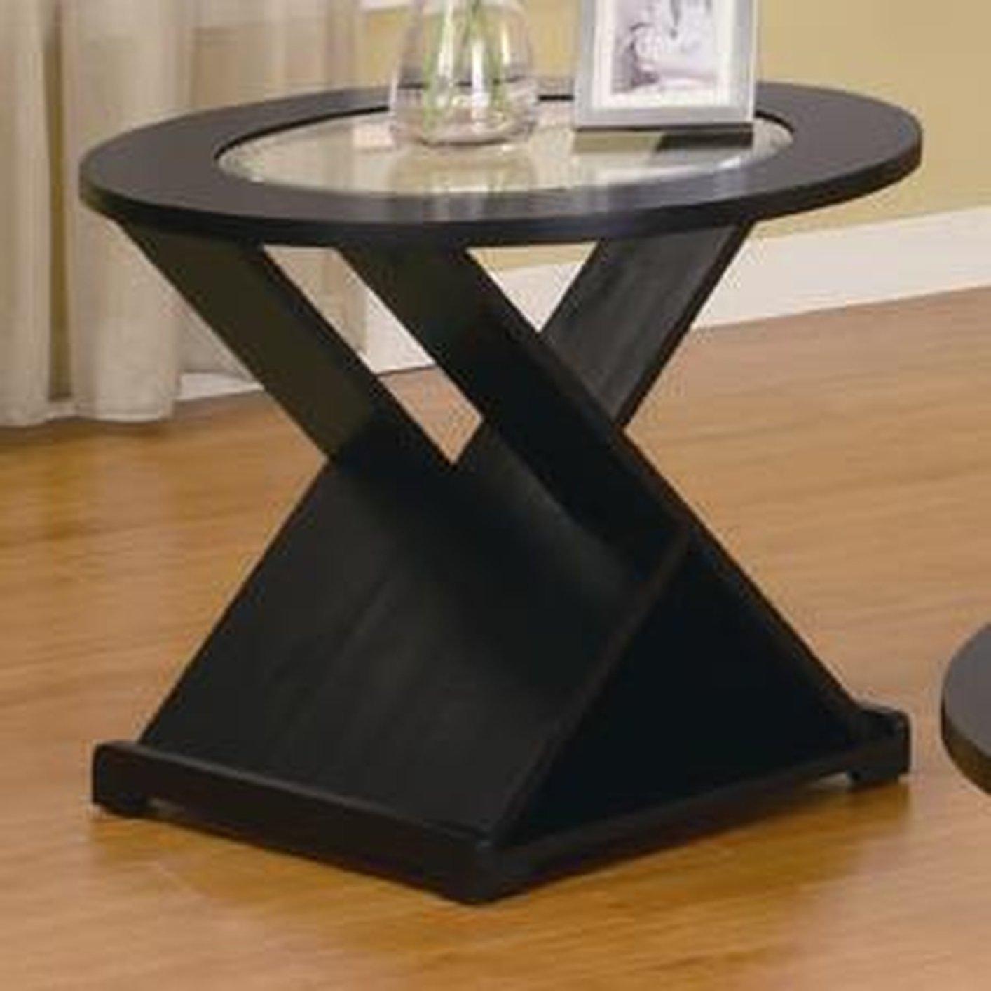 Coaster 701501 Black Glass Coffee Table Set