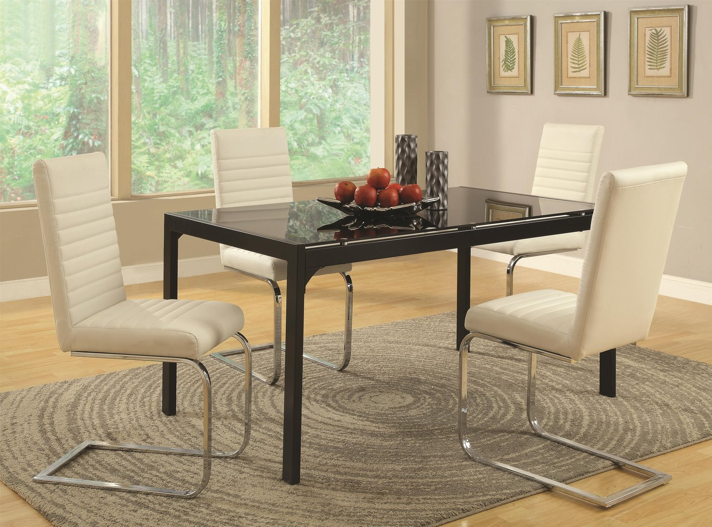 Coaster 104311 Black Glass Dining Table Steal A Sofa