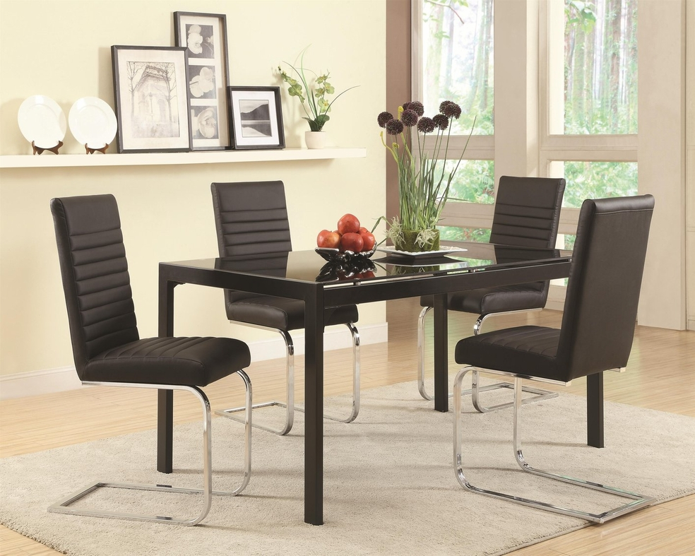coaster 104311 black glass dining table steal a sofa furniture