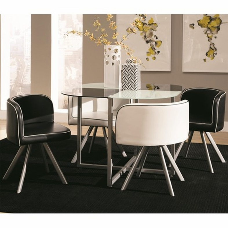 Black Glass Kitchen Table And Chairs: Coaster 150089 Black Glass Dining Table And Chair Set