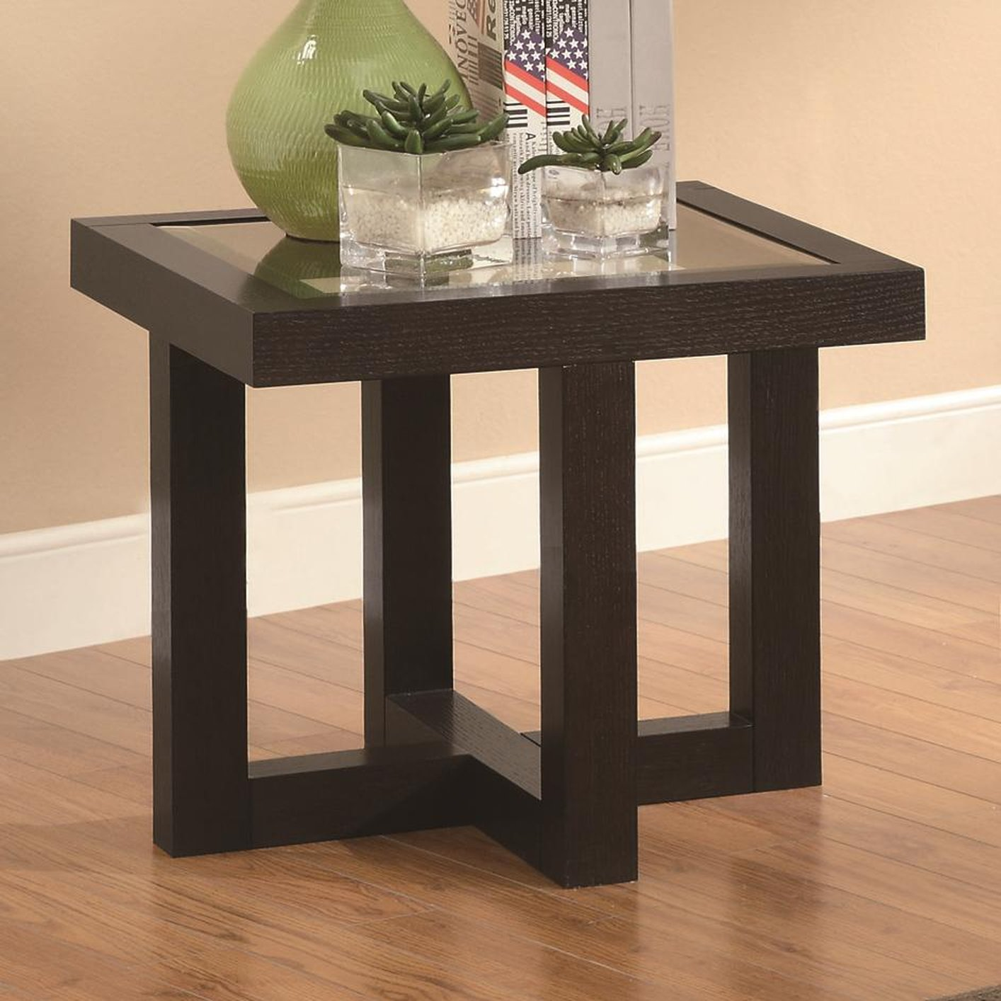 Coaster 701767 Black Glass End Table