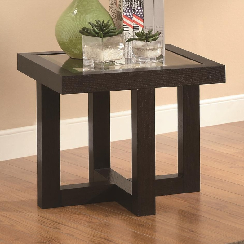 Coaster 701767 black glass end table steal a sofa furniture outlet