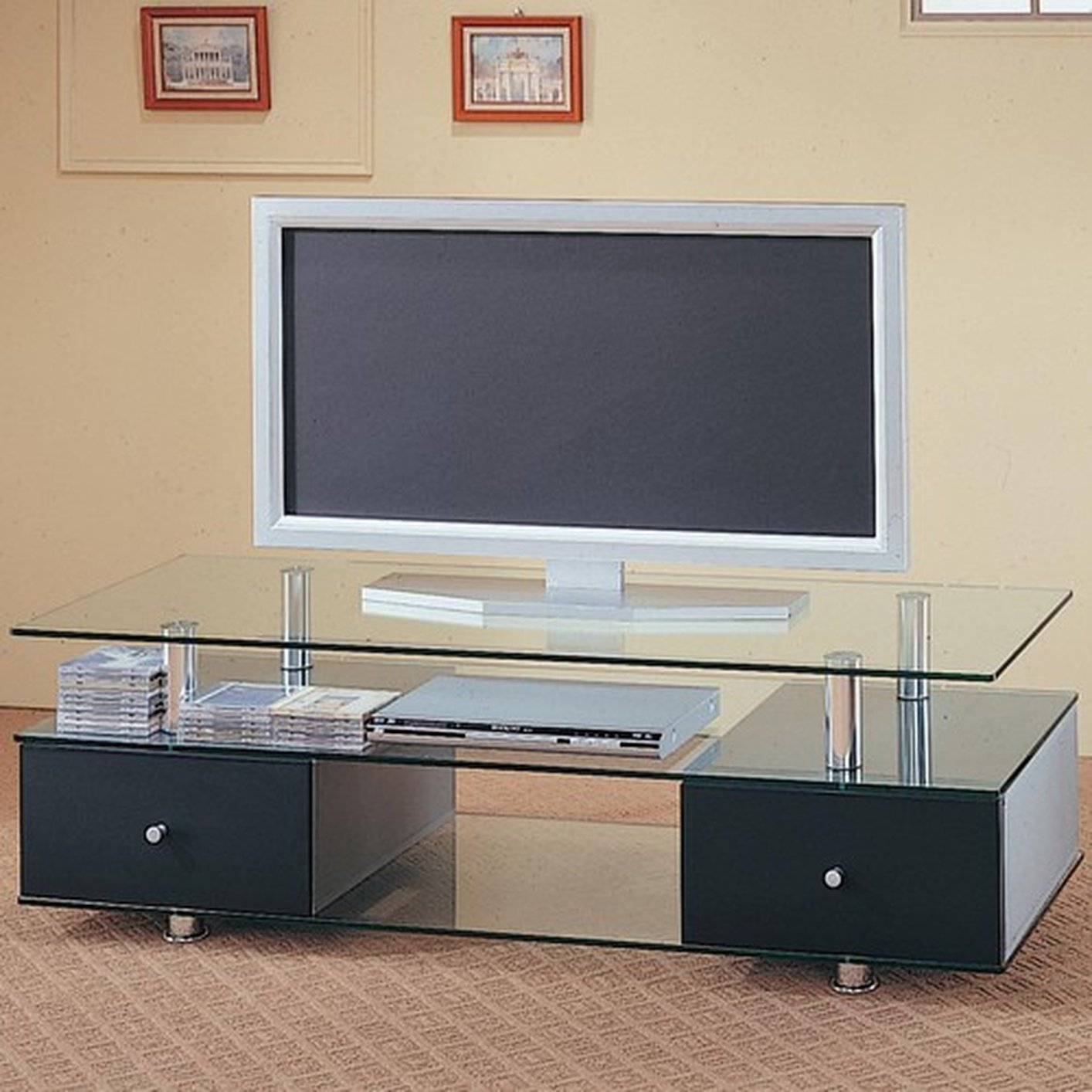 Coaster 720081 Black Glass Tv Stand Steal A Sofa