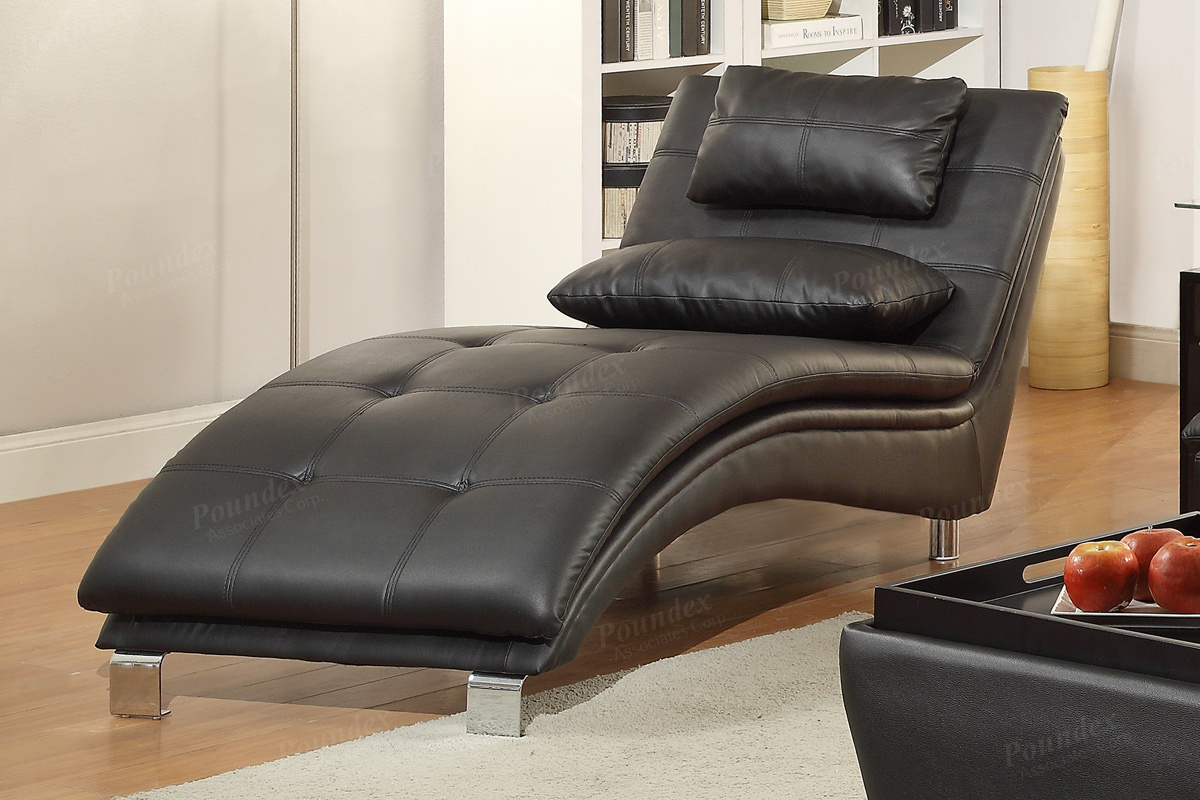 Poundex Duvis F7839 Black Leather Chaise Lounge Steal A