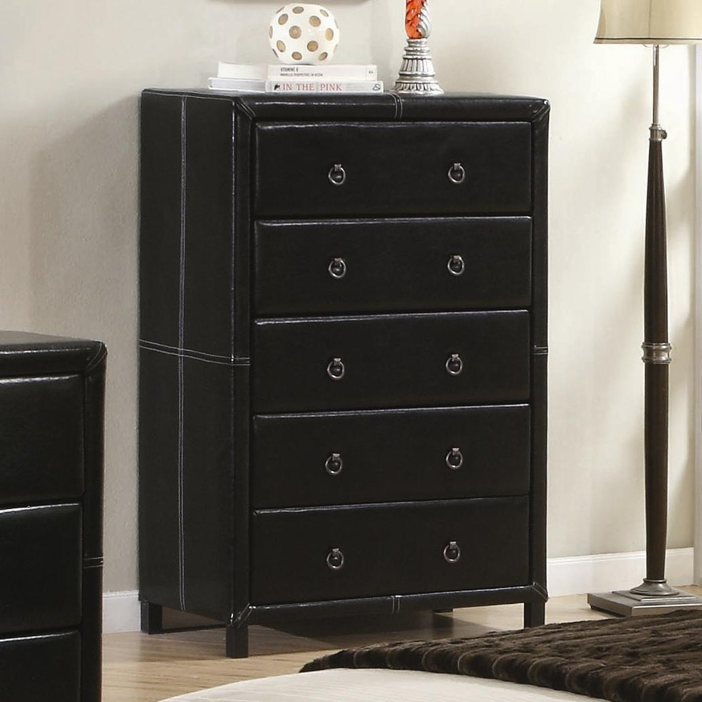 Coaster 201265 Black Leather Chest Of Drawers Steal A